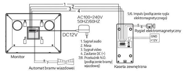 schemat podłączenia WIDEODOMOFON EURA VDP-10A3 JUPITER CZARNY schemat podłączenia