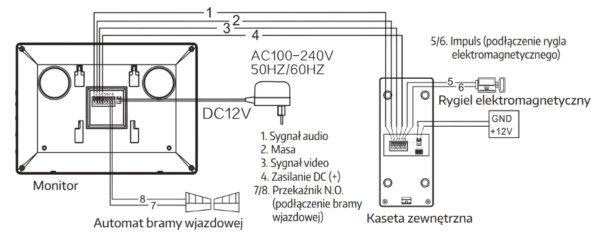 WIDEODOMOFON EURA VDP-12A3 TYTAN BIAŁY schemat podłączenia